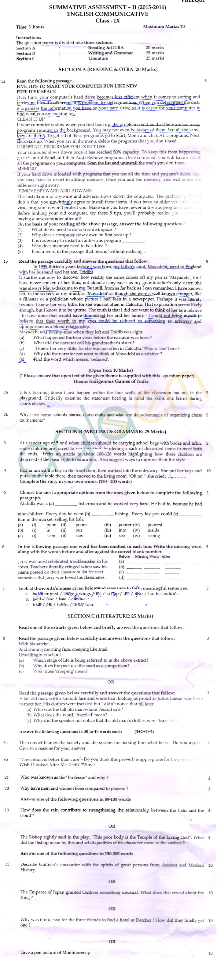 CBSE Class 09 Question Papers English SA2