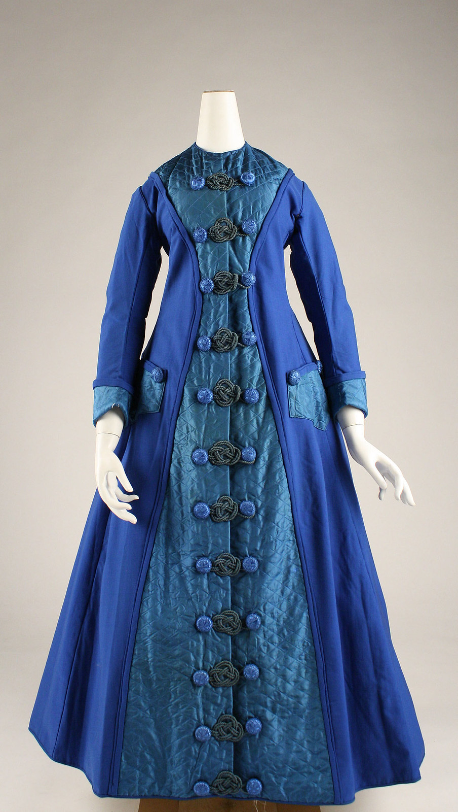Dressing gown, c.1872, American, Silk, wool, cotton, metmuseum