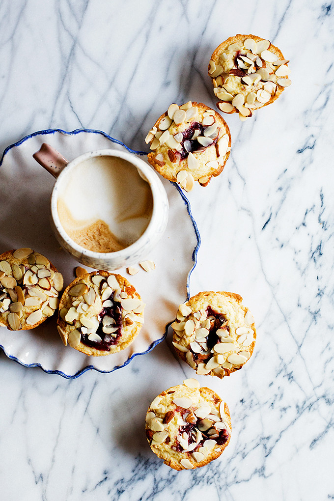Jam Filled Almond Muffins by @cindyr