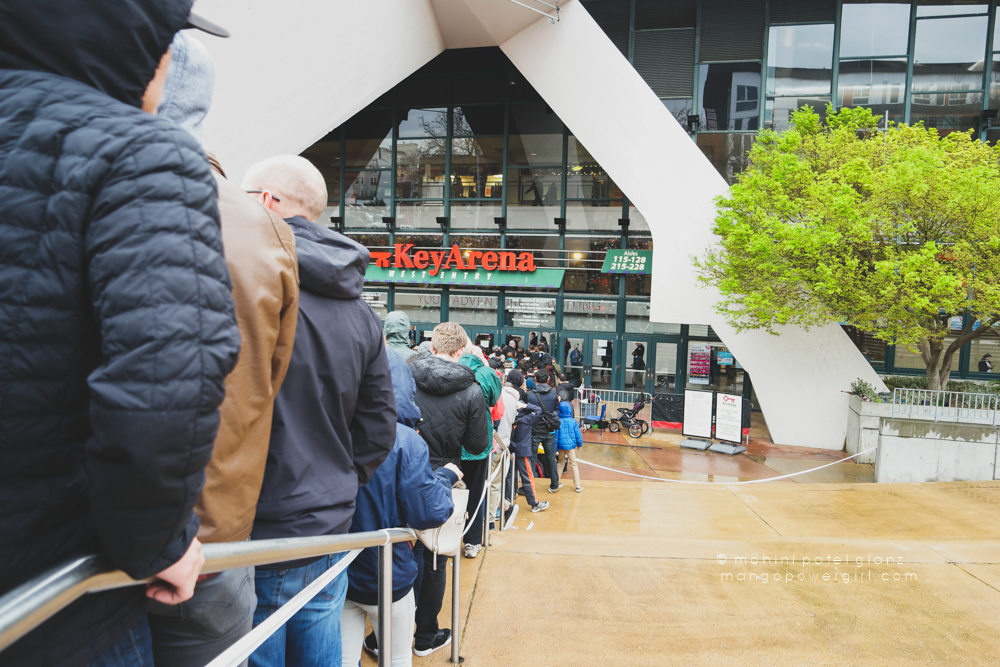 waiting in line getting close to the doors at the bernie sanders rally at key arena, seattle center