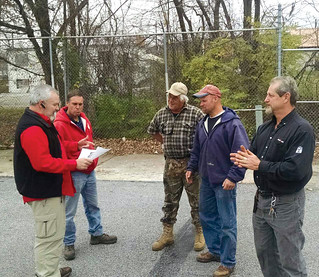 In Coalesville, PA, CWA Local 13000 Unit 23 President Bill Scott, left, and members talk about the election for PA Supreme Court judges and what it means for redistricting in the state.