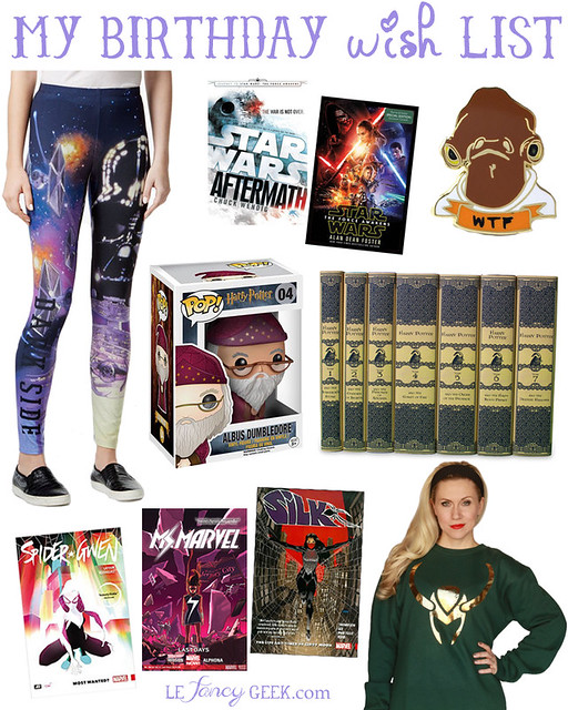 nerdy geeky birthday wish list star wars her universe funko harry potter