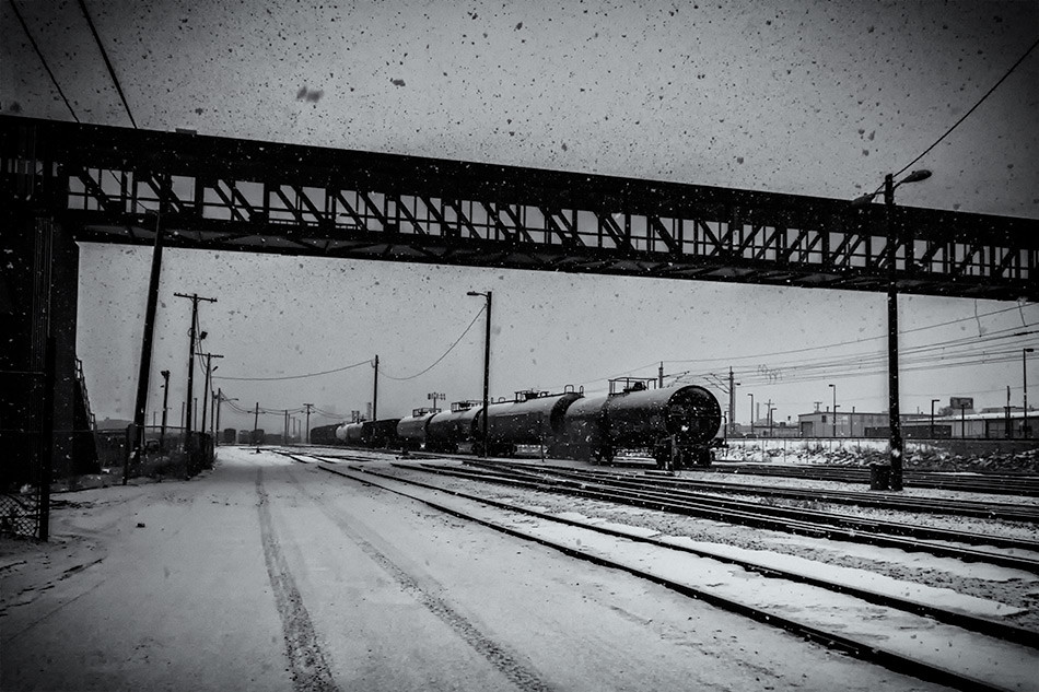 Tanker Cars in the Snow, Christmas Day 2015 - Denver, CO