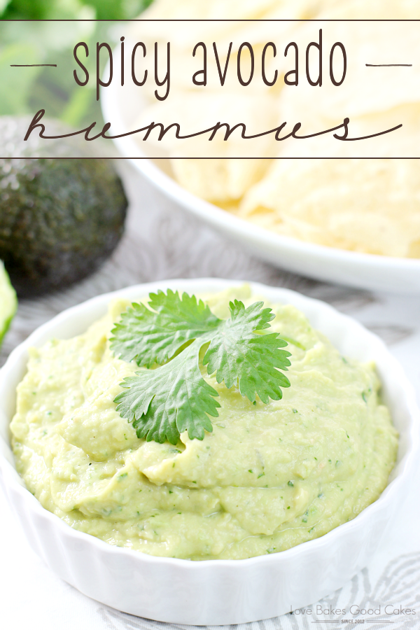 This Spicy Avocado Hummus is the perfect appetizer or game day snack! Not only is this stuff soooooo good, but it's good for you!
