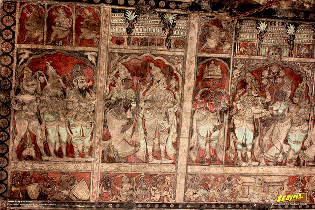 Ceiling paintings and stucco sculptures in the columned hall (mandapa) of Virupaksha Temple complex, Hampi, Ballari district, Karnataka, India