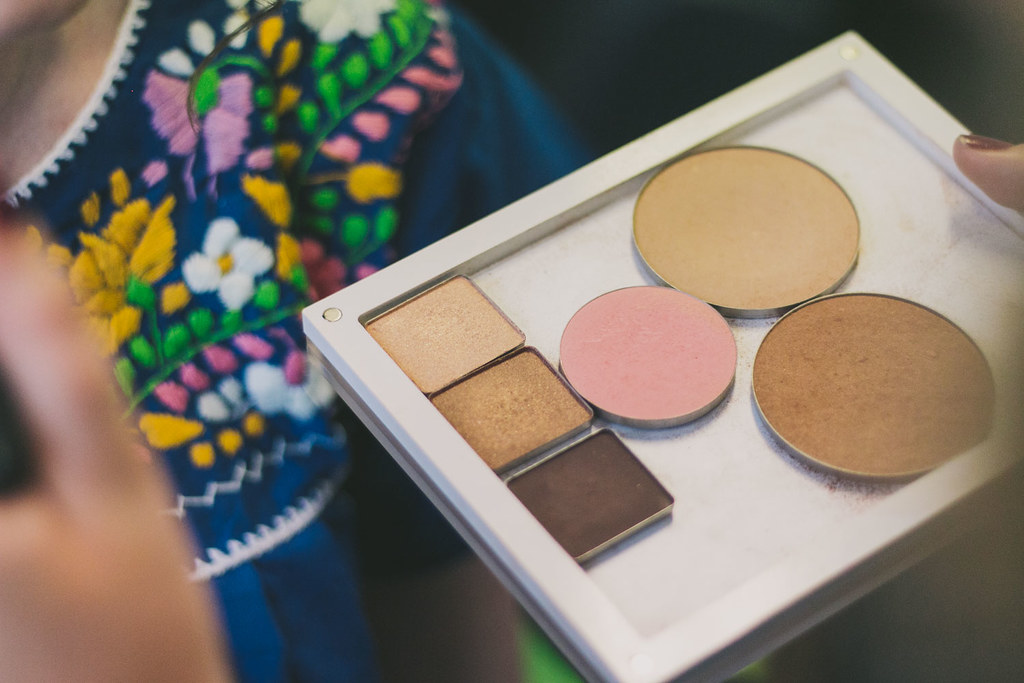 close up of the make up artists palette