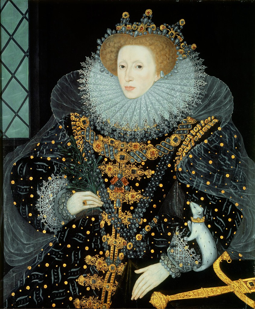 The Ermine Portrait of Elizabeth I of England by William Segar, 1585.