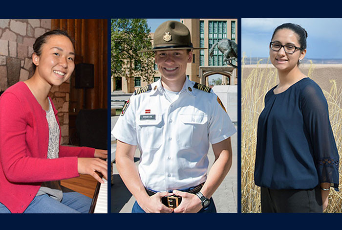 Left to right: Katherine Wang of Los Alamos High School, Solomon Sindelar of New Mexico Military Institute and Arasely Rodriguez of Taos High School, 2016 Los Alamos Employees' Scholarship Fund Gold-level scholarship recipients.