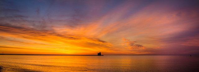 Sunrise, Lighthouse, Kewaunee, Lake Michigan, Panorama