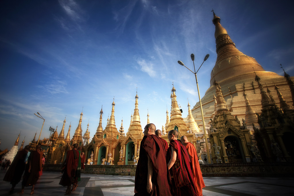 Monks Circumambulate The Sacred Shwedagon, Burma
