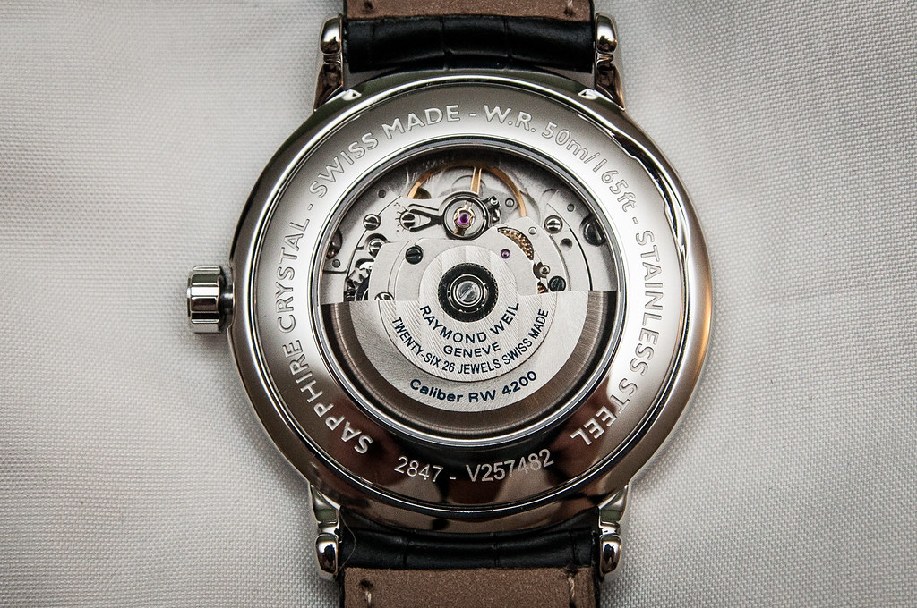 raymond weil maestro swiss automatic watch caseback