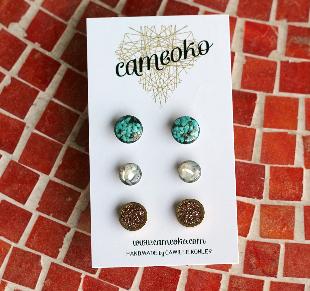 Cameoko Post Earrings in their Packaging
