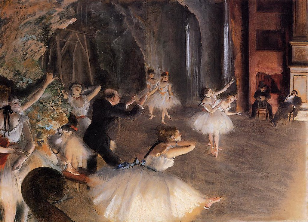 The Rehearsal of the Ballet on Stage by Edgar Degas, 1874