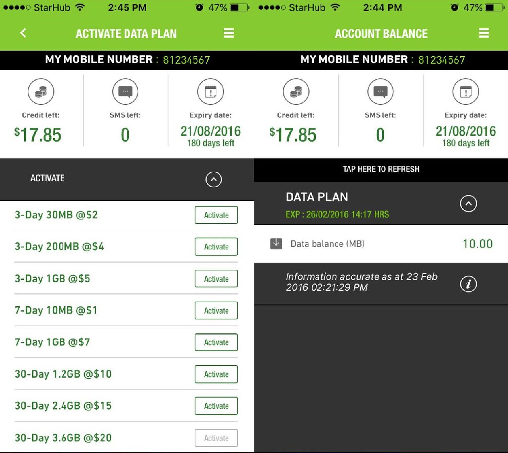 Download the StarHub Happy Prepaid app to check your account balance