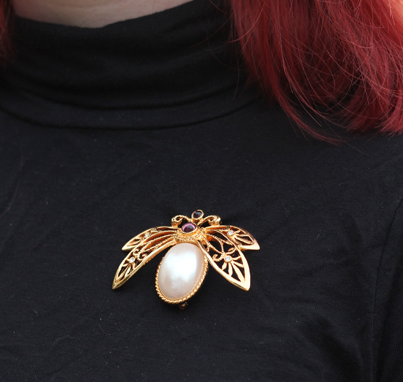 Gold and Pearl Beetle Pin