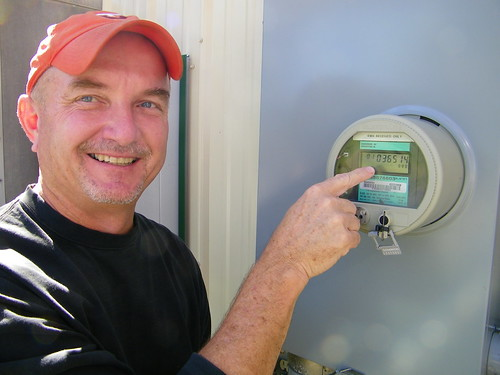 Mike Mattox, owner of E&S Mart and mayor of Altavista at his energy meter