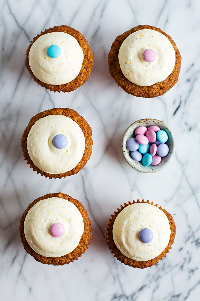 Carrot Cupcakes with Orange & Vanilla Bean Cream Cheese Frosting