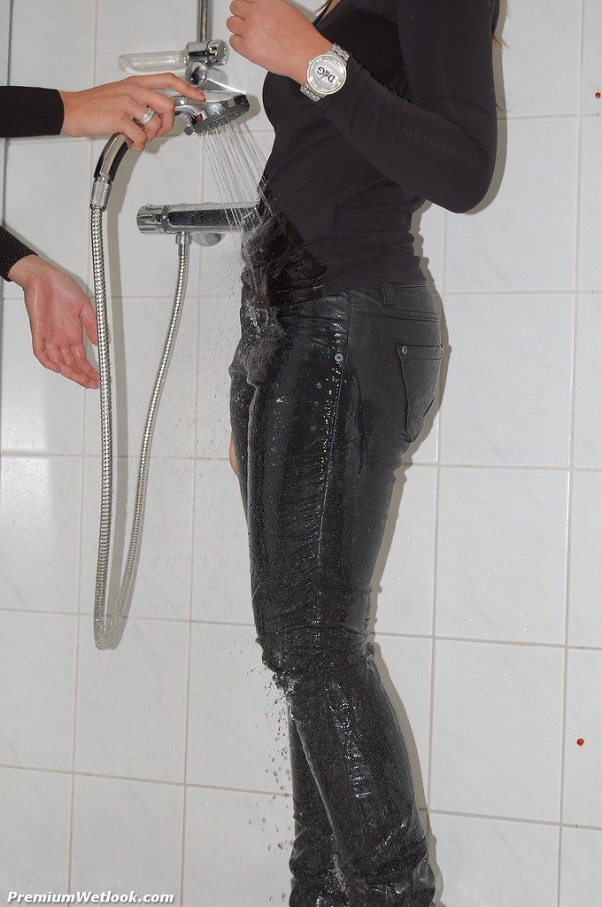 Wet leather pants