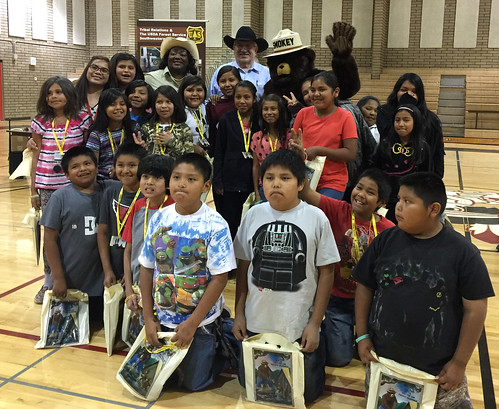 "USDA Deputy Under Secretary Arthur ""Butch"" Blazer with a group of San Carlos Apache Reservation fourth graders"