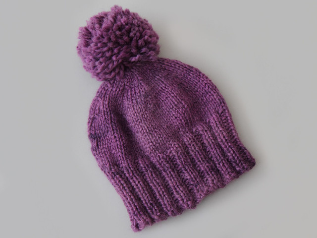 Hand knit Hoxton hat in purple baby alpaca – medium