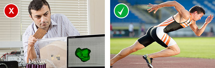 An example of an uninspiring photo showing a researcher at his desk and a good example of a photo showing a sprinting athlete which illustrates effect and impact