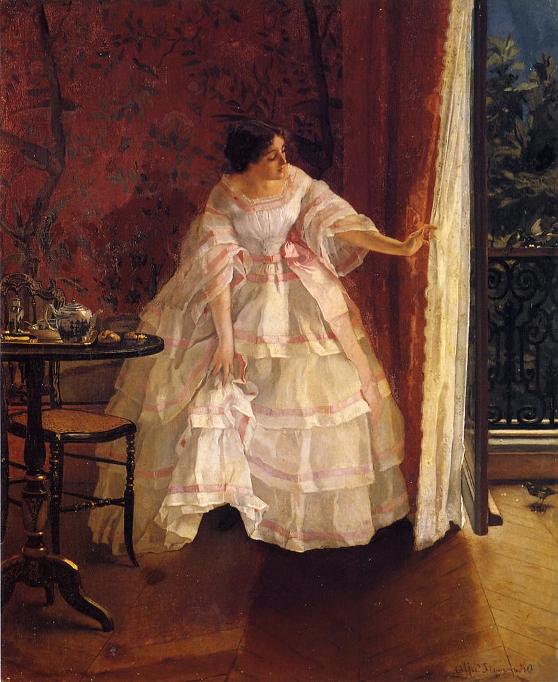 Lady at a Window Feeding Birds by Alfred Stevens, 1859