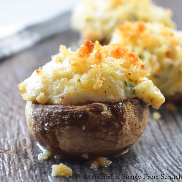 Crab Stuffed Mushrooms are easy to make but taste like they came from a high end restaurant. The only problem is they don't last long! serenabakessimplyfromscratch.com