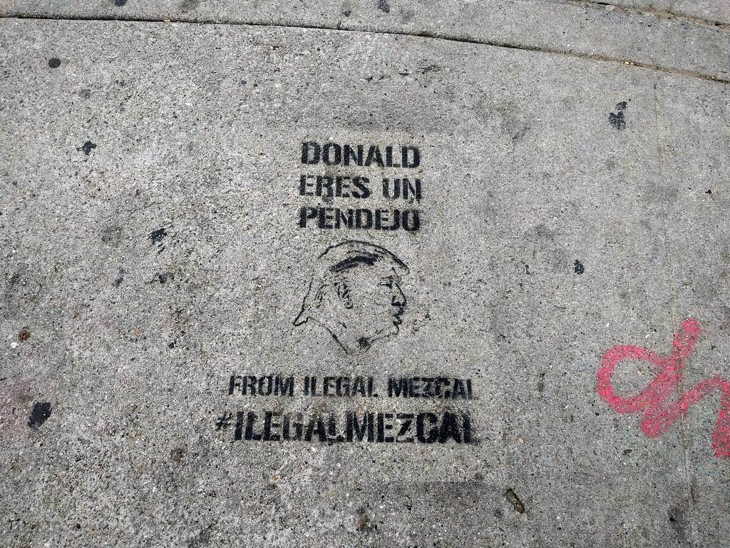 Donald Eres un Pendejo, sidewalk stencil, Sunset Junction, Los Angeles, California, USA