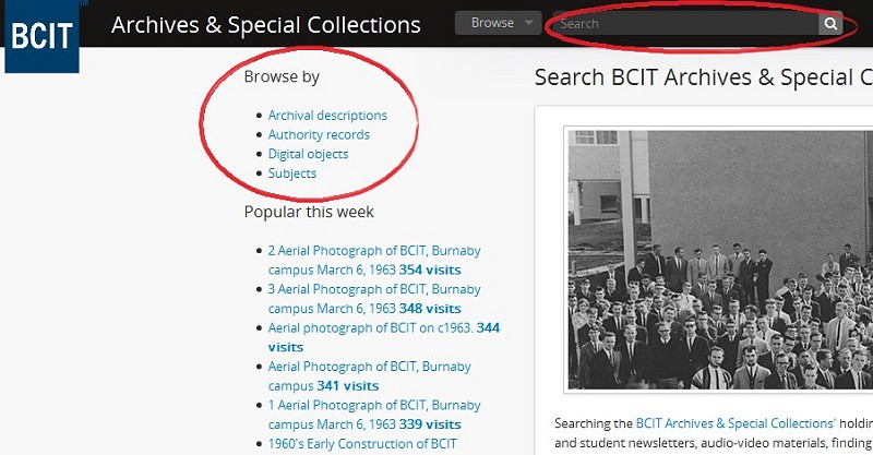 Screenshot of BCIT Archives & Special Collections homepage. 'Search' and 'Browse by' circled.