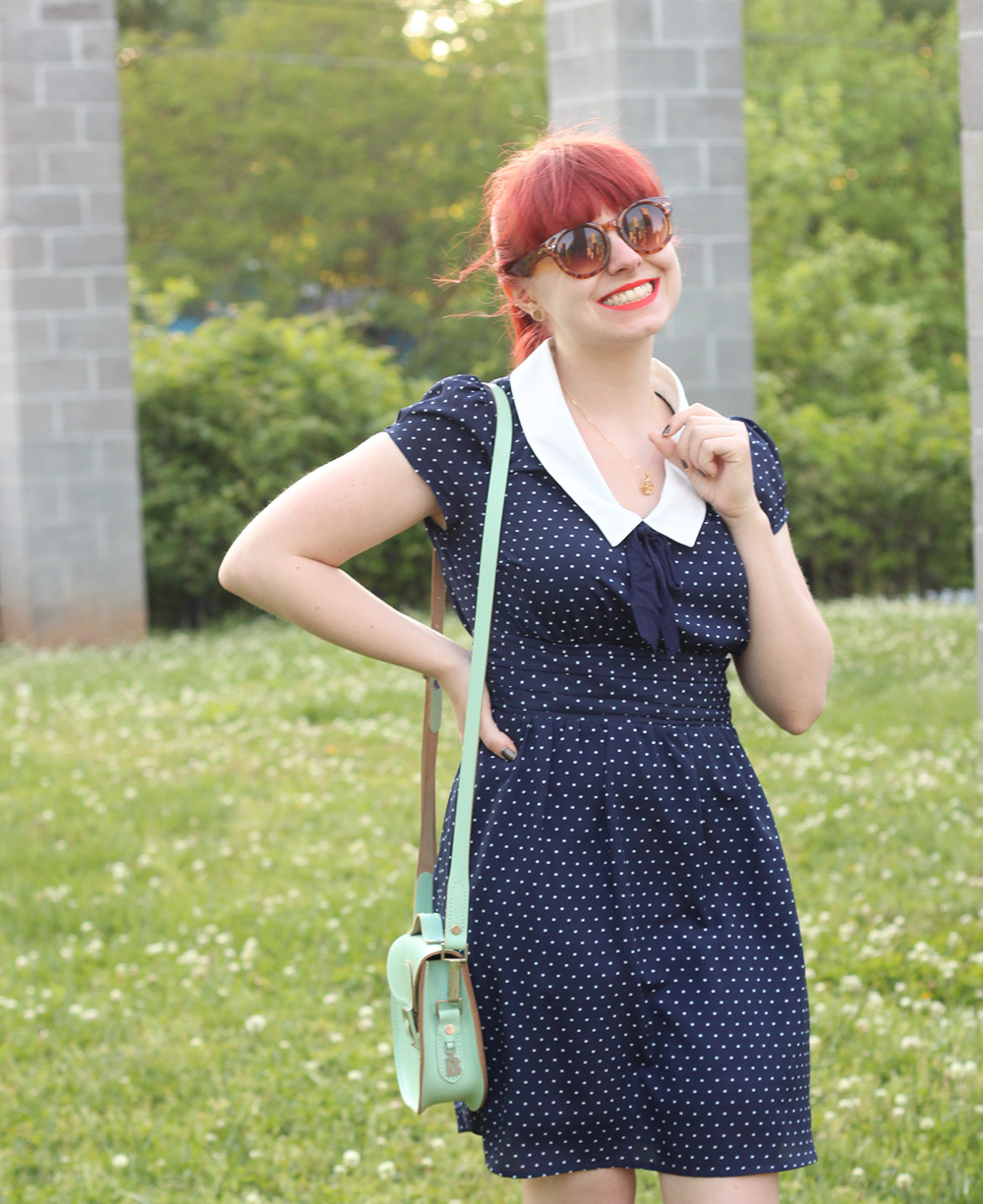 White Pointed Collar, Dark Blue Polka Dot Dress from F21, Brown Sunglasses for Spring