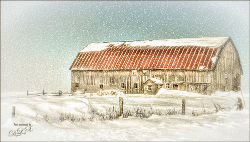 Image of wintry landscape with a barn