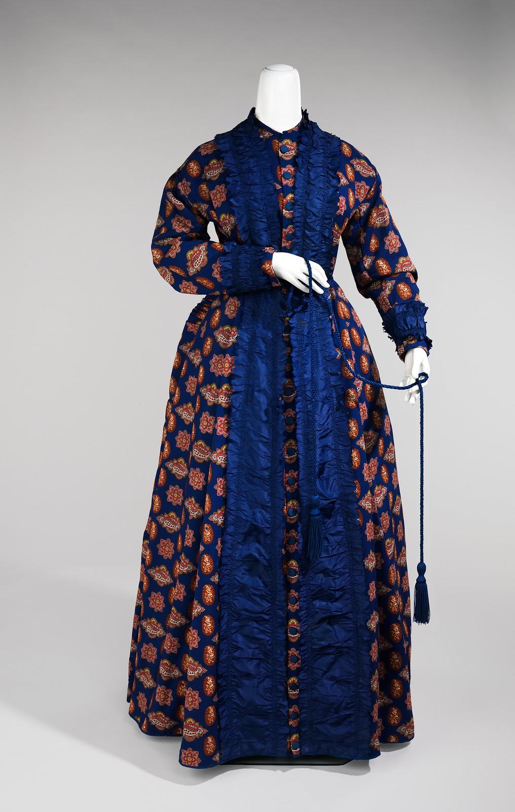 Dressing gown 1865-75 American Wool, silk, metmuseum