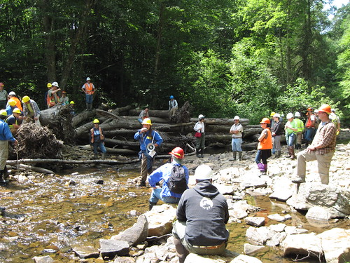 Students gathering to look at a one year old large woody material structure in the East Fork of the Greenbrier at Island Campground