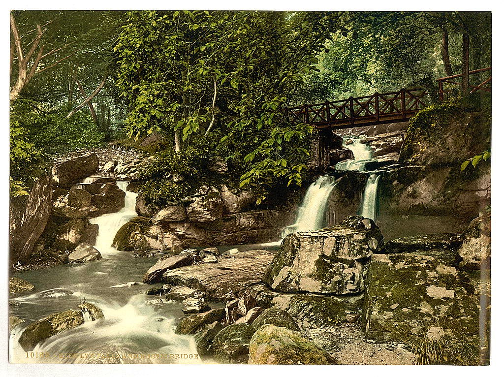 Glen Lyn, falls and upper bridge, Lynton and Lynmouth, Devon