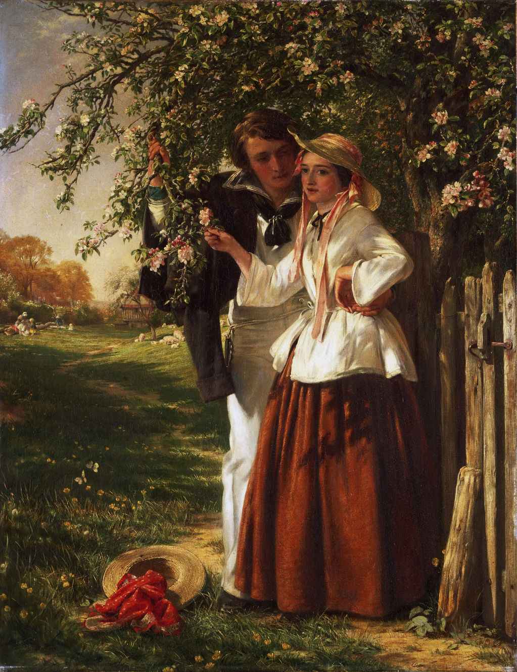 Lovers under a Blossom Tree by John Callcott Horsley (English, 1817 - 1903).