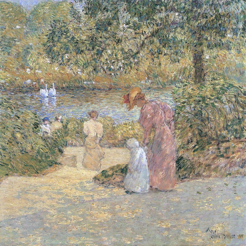 Descending the Steps, Central Park by Frederick Childe Hassam, 1895