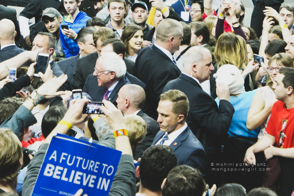 senator bernie sanders shaking hands at the seattle rally at key arena, seattle center