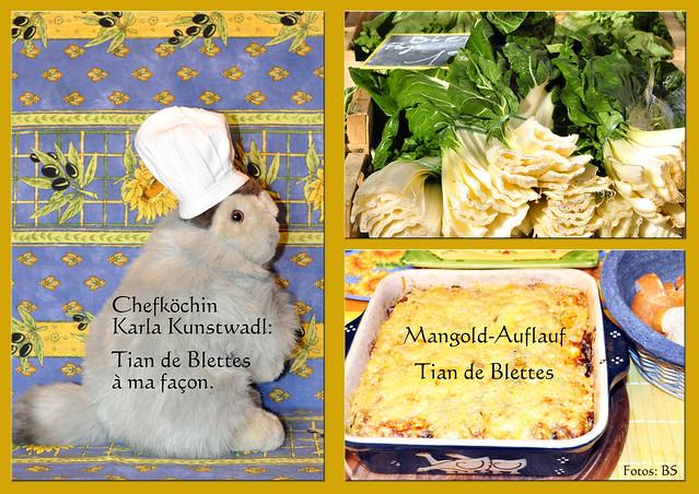 """In Nizza haben wir bei """"René Socca"""" den tollen Mangold-Auflauf (Tian de Blettes) gegessen und waren begeistert. Chefköchin Karla Kunstwadl hat ihn für uns nach ihrer eigenen """"Façon"""" nachgekocht bzw. nachempfunden, darüber hinaus noch mit würzigem Käse überbacken. Eine leckere vegetarische Urlaubserinnerung - Fotos: Brigitte Stolle 2016"""