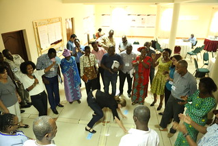 It is a perfect four out of four for me! Gundula Fischer goes on all fours to practically demonstrate (on a four part square marked on the meeting floor) that she achieved all her goals for attending the AR West Africa planning and review meeting 2016 (Ph