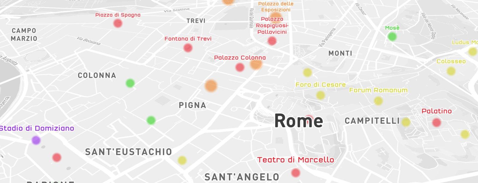 Mapbox Streets landmarks in Rome
