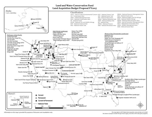Land and Water Conservation Fund, Land Acquisition Budget Proposal FY2017 map