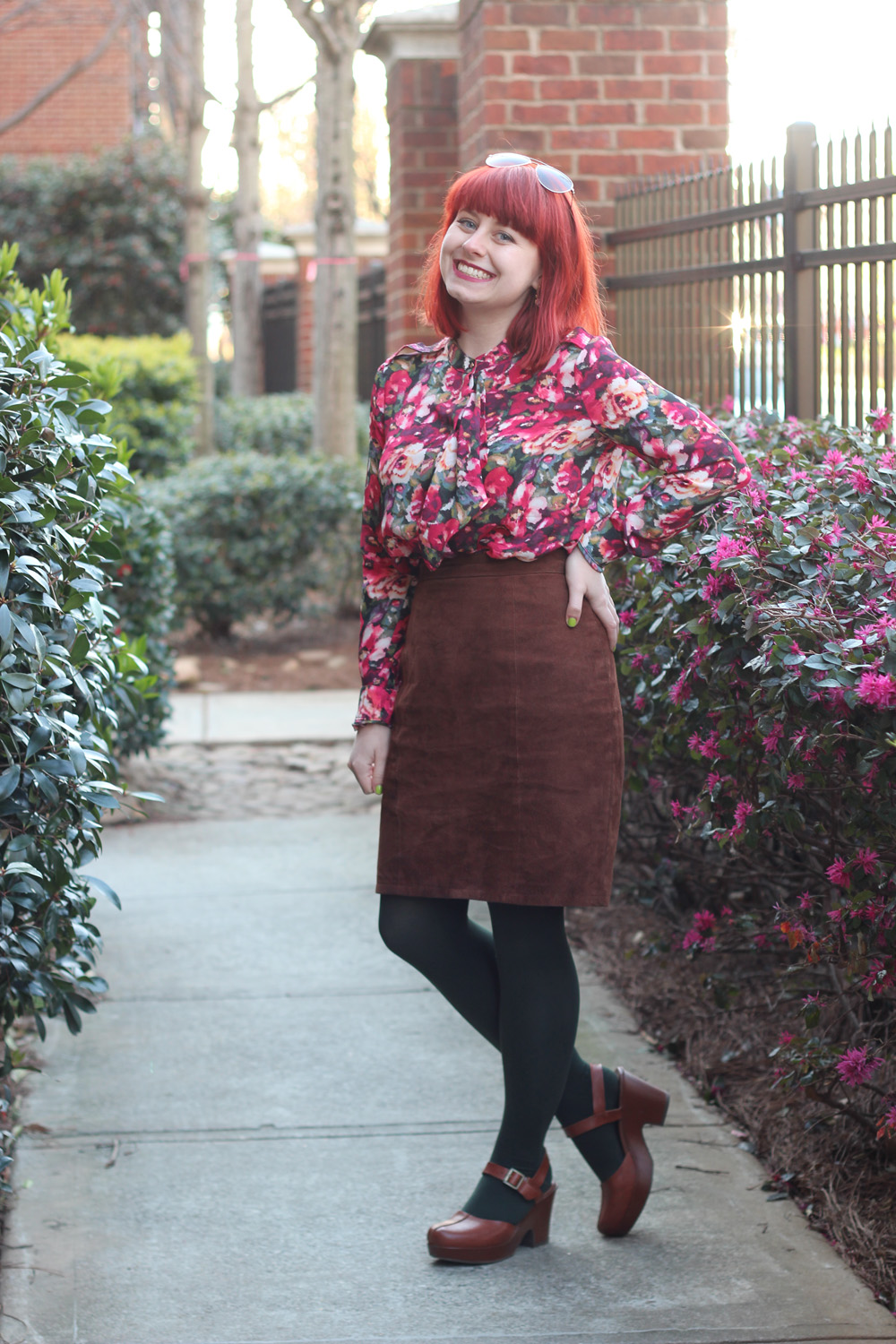 Suede Pencil Skirt, Digital Floral Print Blouse, Forest Green Tights, and Brown Clogs