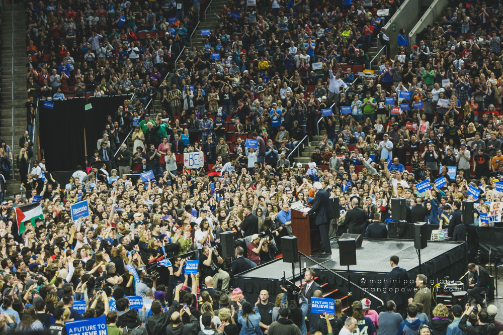 senator bernie sanders addressing the crowd at at the seattle rally at key arena, seattle center