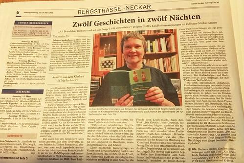 Artikel zu Als Brunhilde, Barbara und ich das Ewige Licht auspusteten von Brigitte Stolle in der Rhein-Neckar-Zeitung Heidelberg_Nicoline Pilz