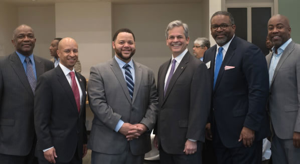From left to right: Ken Harris, Teddy McDaniel III, Michael Smith, Mayor Steve Adler, Dr. Gregory J. Vincent, Dr. Leonard Moore