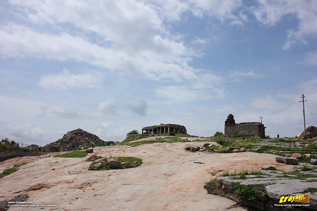 A view of Hemakuta hill, from outside Virupaksha Temple complex, Hampi, Ballari district, Karnataka, India