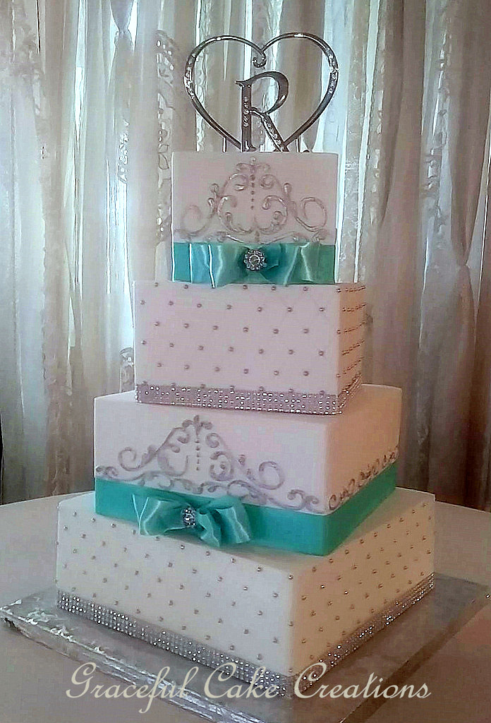 Elegant Square White Butter Cream Wedding Cake With Tiffan