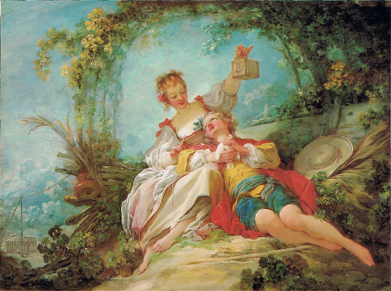 The Happy Lovers by Jean-Honore Fragonard, 1765.