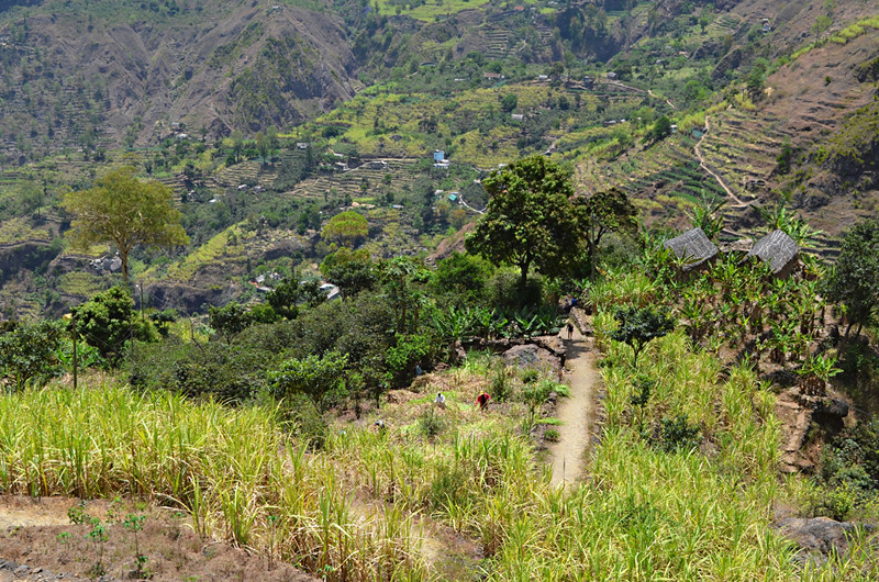 Walking through Ribeira do Paul Valley, Santo Antao, Cape Verde