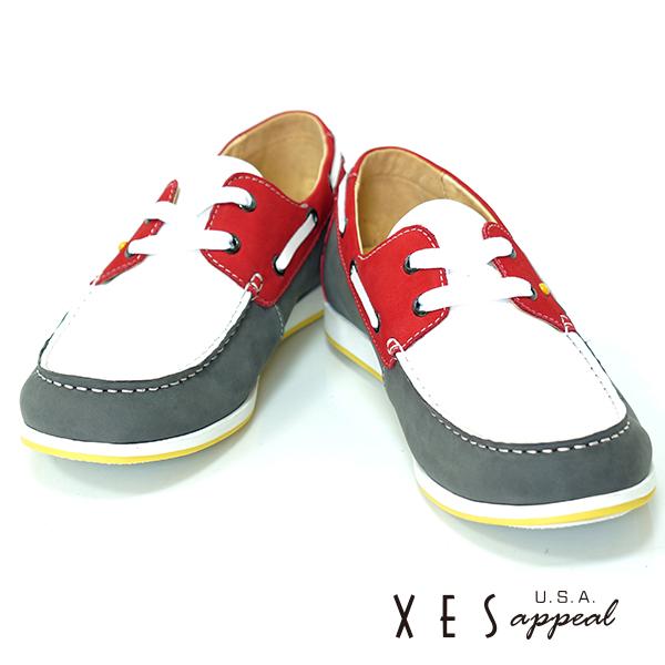 XES,專櫃鞋款,帆船鞋,真皮,撞色雷根,帥性紅